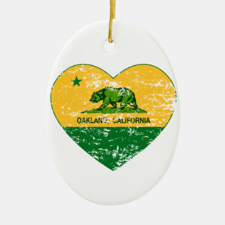 green and yellow california flag oakland heart Double-Sided oval ceramic christmas ornament