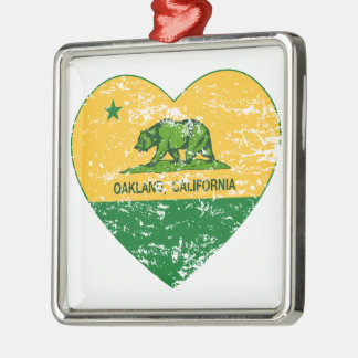 green and yellow california flag oakland heart square metal christmas ornament