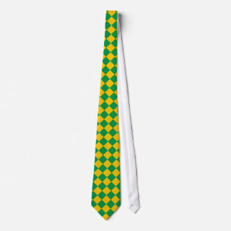Green and yellow checkered tie