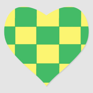 green and yellow checkers heart sticker