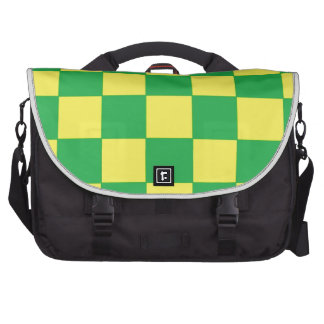 green and yellow checkers commuter bags