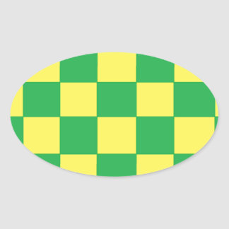 green and yellow checkers oval sticker