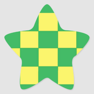 green and yellow checkers star sticker