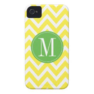 Green and Yellow Chevron Custom Monogram iPhone 4 Covers