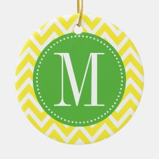Green and Yellow Chevron Custom Monogram Ceramic Ornament