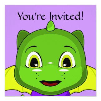 Green And Yellow Chibi Dragon 5.25x5.25 Square Paper Invitation Card