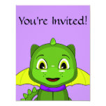 Green And Yellow Chibi Dragon Personalized Announcements