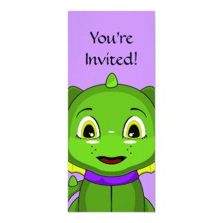Green And Yellow Chibi Dragon 4x9.25 Paper Invitation Card