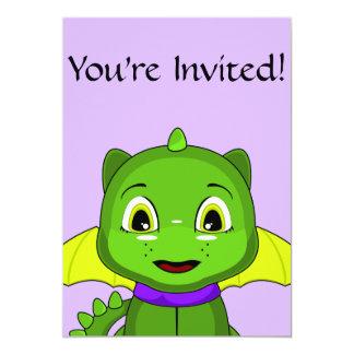 Green And Yellow Chibi Dragon 5x7 Paper Invitation Card