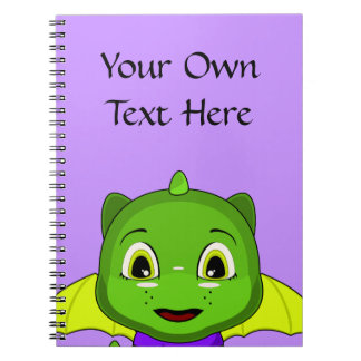 Green And Yellow Chibi Dragon Spiral Notebook