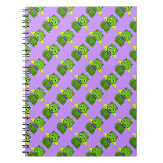 Green And Yellow Chibi Dragon Spiral Note Book