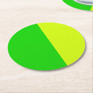 Green and Yellow Color-block Design Round Paper Coaster
