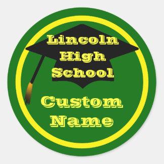 Green And Yellow Custom Graduation Stickers