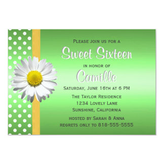Green and Yellow Daisy Sweet Sixteen Card