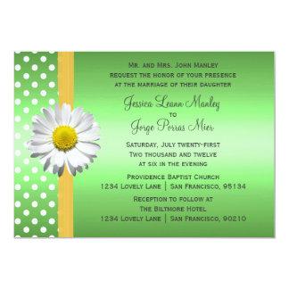 Green and Yellow Daisy Wedding Invitation