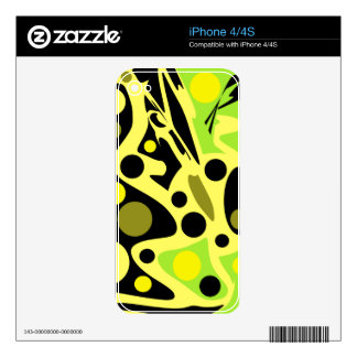Green and yellow decor iPhone 4S skin