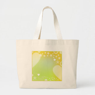 Green and yellow design with hearts and stars large tote bag