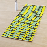 [ Thumbnail: Green and Yellow Diamond Shape Pattern Yoga Mat ]