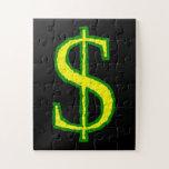 [ Thumbnail: Green and Yellow Dollar Symbol Jigsaw Puzzle ]