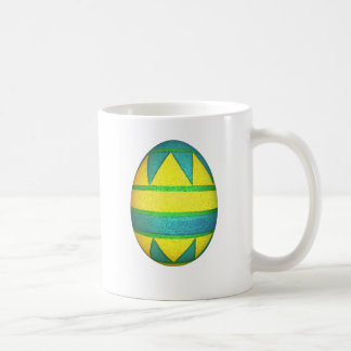 Green and Yellow Dyed Triangle Easter Egg Coffee Mug