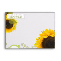 Green and Yellow Floral Swirl Sunflower Wedding Envelope