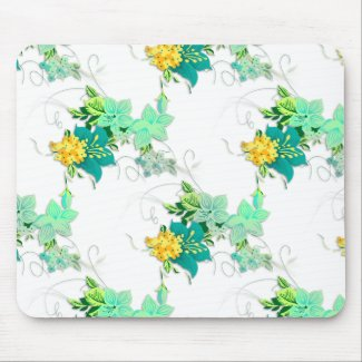 Green and Yellow Flowers Mousepads