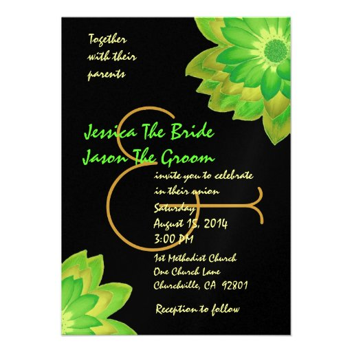 Green and Yellow Flowers Wedding Template Invite
