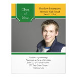 Green and Yellow Gold Photo Graduation Invitation