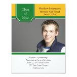 "Green and Yellow Gold Photo Graduation Invitation 4.25"" X 5.5"" Invitation Card"