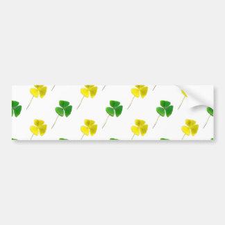 Green and Yellow Gold Shamrock Pattern Bumper Stickers