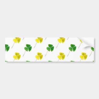 Green and Yellow Gold Shamrock Pattern Car Bumper Sticker