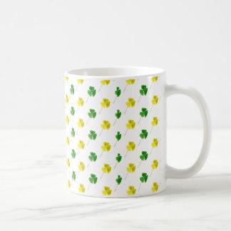 Green and Yellow Gold Shamrock Pattern Coffee Mug