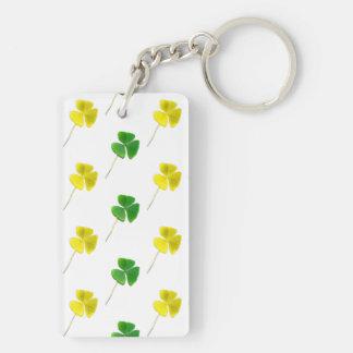 Green and Yellow Gold Shamrock Pattern Keychain