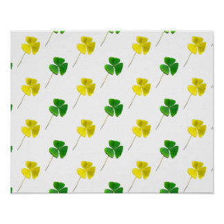 Green and Yellow Gold Shamrock Pattern Poster