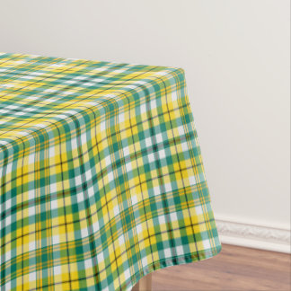 Green And Yellow Gold Sporty Plaid Tablecloth