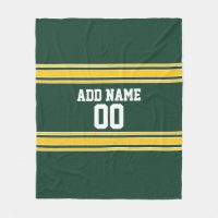 Green and Yellow Gold Striped Personalized Sports Fleece Blanket