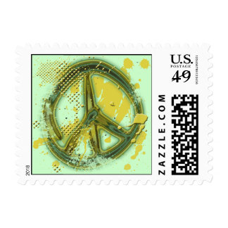 GREEN AND YELLOW GRUNGE PEACE SIGN STAMP