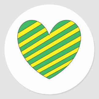 Green and Yellow heart Classic Round Sticker