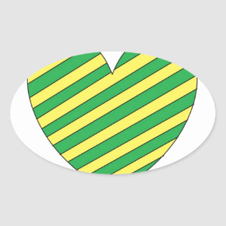 Green and Yellow heart Oval Sticker