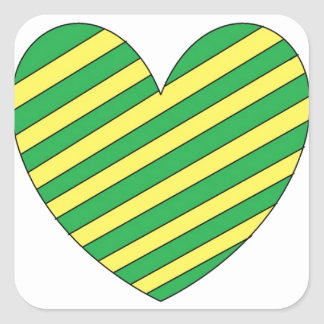 Green and Yellow heart Square Sticker