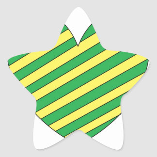 Green and Yellow heart Star Sticker