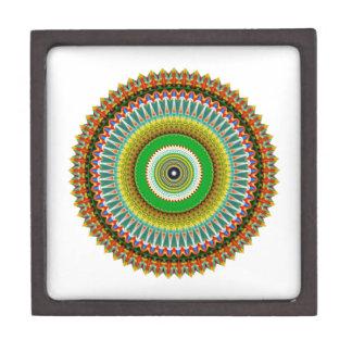 Green and Yellow Kaleidoscope Mandala Premium Jewelry Box