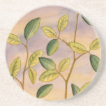 Green and Yellow Leaves on Sunset Background Sandstone Coaster