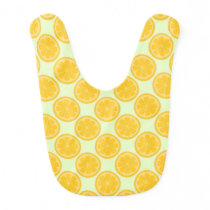 Green and Yellow Lemon Pattern Baby Bib