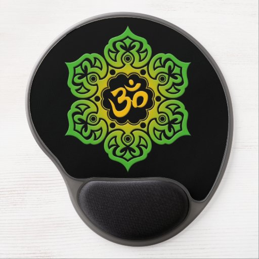 Green and Yellow Lotus Flower Om on Black Gel Mousepads