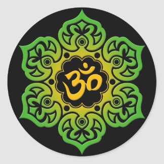 Green and Yellow Lotus Flower Om on Black Classic Round Sticker