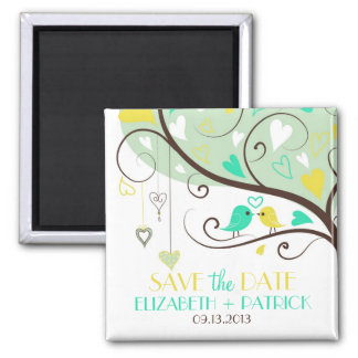 Green and Yellow Love Birds Save the Date Magnet