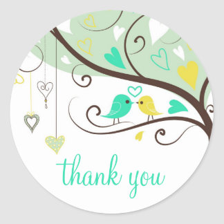 Green and Yellow Love Birds Thank You Sticker