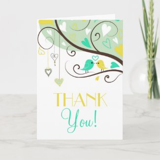 Green and Yellow Love Birds Wedding Thank You Card