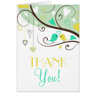 Green and Yellow Love Birds Wedding Thank You Card Greeting Card